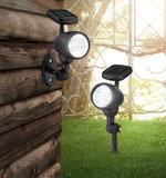 Solar wandlamp/grondspies zwart_