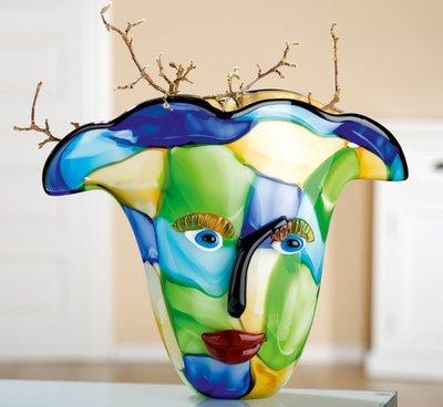 Glazen design vaas Gezicht Bleu