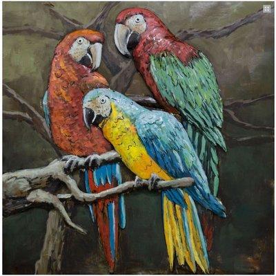 Metalen schilderij 3d Papegaai papegaaien