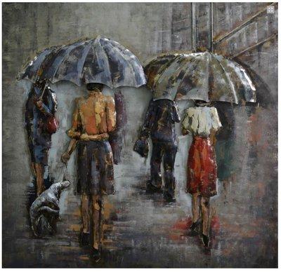 Metalen schilderij 3d regenachtige dagen