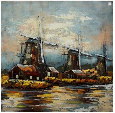 Metalen schilderij 3d hollandse windmolens