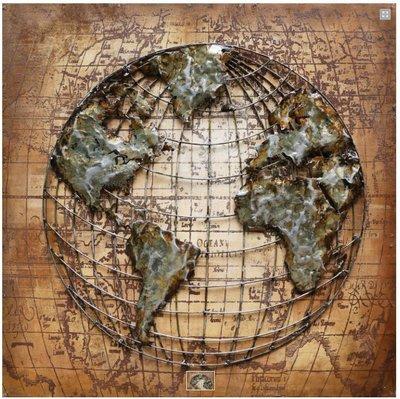 Metalen schilderij 3d aarde landkaart