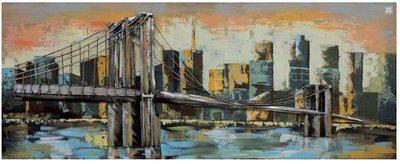 Metalen schilderij 3d brooklyn bridge
