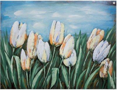 Metalen schilderij 3d witte tulpen