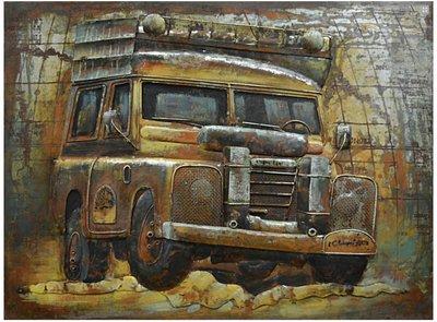 Metalen schilderij 3d defender jeep