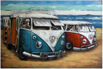 Metalen schilderij 3d volkswagen t1