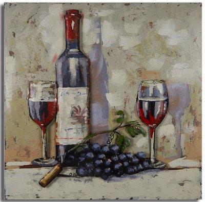 Metalen schilderij 3d Stilleven wijn