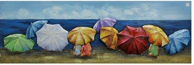 Metalen schilderij 3d Strand met parasols 30x90