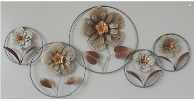 Muurdecoratie metaal Bloemen ringen