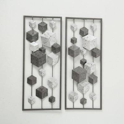 Muurdecoratie blokken wanddecoratie metaal