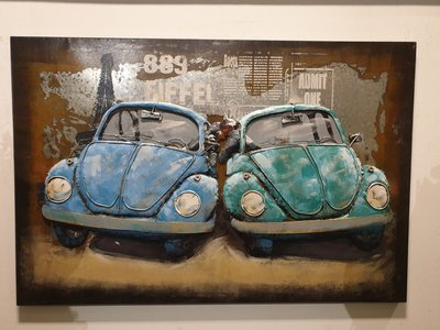 Metalen schilderij 3d volkswagen kever duo muurdecoratie