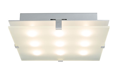 WallCeiling Xeta 24W LED 300x300mm chroom mat 230V metaal/glas
