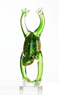Glassculptuur kikker handstand 36 cm