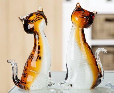 Glas sculptuur Poesjes 20 cm