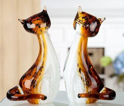 Glas sculptuur Poezen 27cm