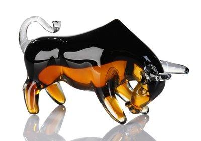 Glassculptuur Stier zwart 21 cm