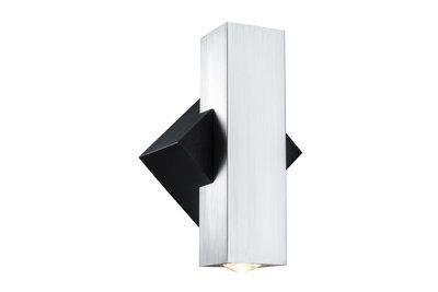 ABL Set 2Flame LED 2x3,2W 230V IP44 hoekig zwart/alu geborsteld alu