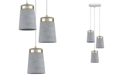 Neordic Norell hanglamp max. 3x20W E27 grijs/wit m/goud mat 230V beton/metl