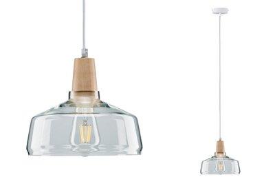 Neordic Yva hanglamp max. 1x20W E27 Helder/hout 230V glas/hout