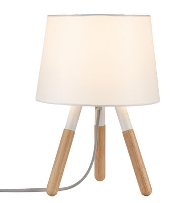 Neordic Berit tafellamp max. 1x20W E27 Wit/hout 230V stof/hout/metaal