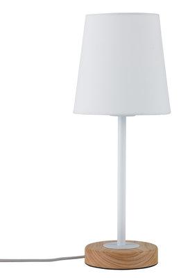 Tafellamp Neordic Stellan 1-lamps met stoffen kap wit/hout