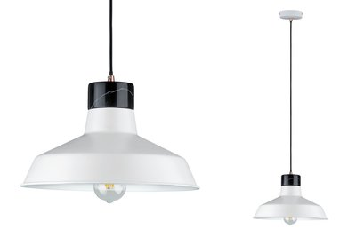Neordic Disa hanglamp max. 1x20W E27 Wit mat/zwart 230V metaal/marmer