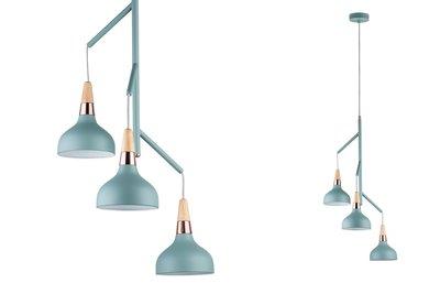 Neordic Juna hanglamp max. 3x20W E14 Softgroen/koper/hout 230V metaal/hout