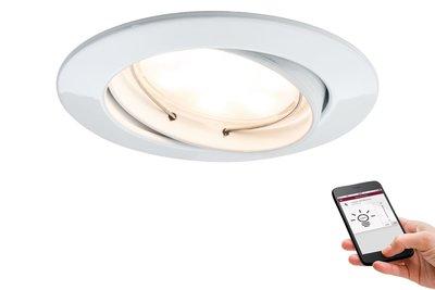 Premium EBL SmartCoin BLE dimbaar zwb LED 1x5W 2700K 230V 51mm wit mat/alu zink