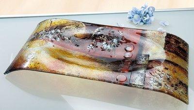Glazen schaal amber glasfusion