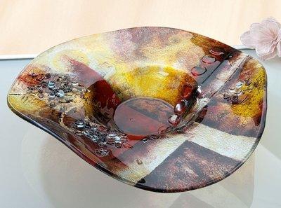 Glazen schaal amber rond