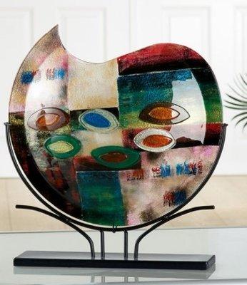 Glazen vaas kunstwerk maan
