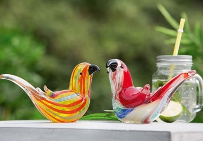 Glas beeldjes vogels