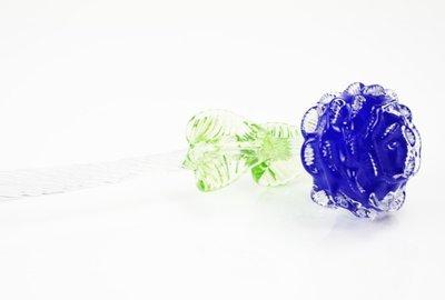 Glazen bloem roos Blauw