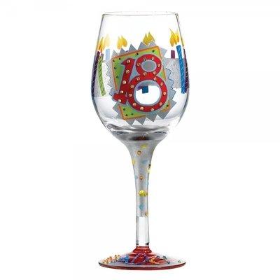 Hand beschilderd wijnglas 18 jaar