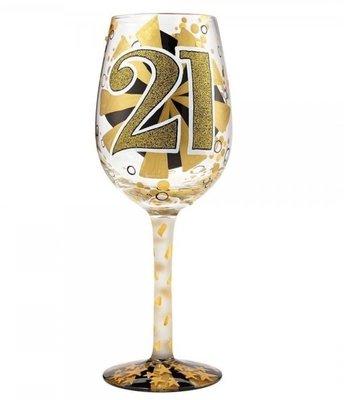 Hand beschilderd wijnglas 21 jaar