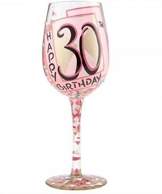 Hand beschilderd wijnglas 30 jaar