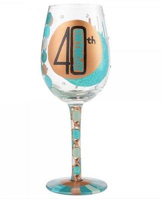 Hand beschilderd wijnglas 40 jaar