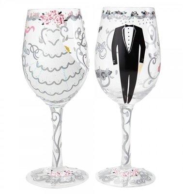 Wijnglas Hand geschilderd Huwelijk