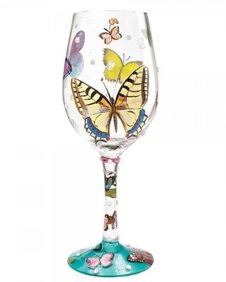 Wijnglas Hand geschilderd vlinderrijk