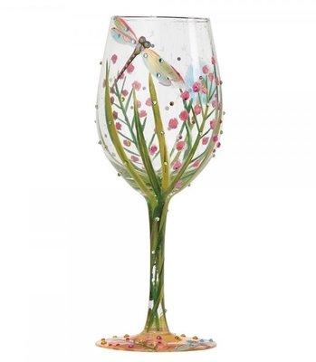 Wijnglas Hand geschilderd voorjaar
