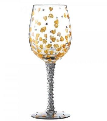 Wijnglas Hand geschilderd goldy harts
