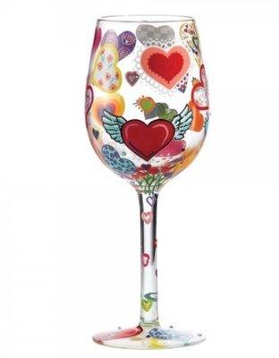 Wijnglas Hand geschilderd lovely