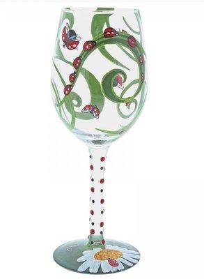 Wijnglas Hand geschilderd spring