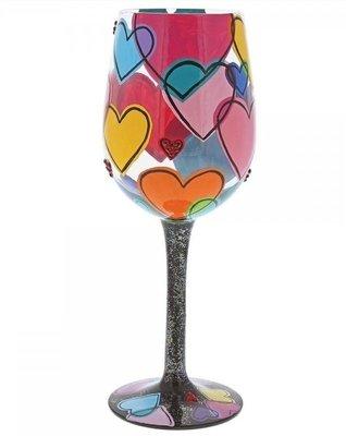 Wijnglas Hand geschilderd liefde is om ons heen