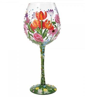 Wijnglas Bling XL bloemetje