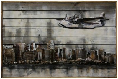 Houten-metaal schilderij skyline vliegtuig