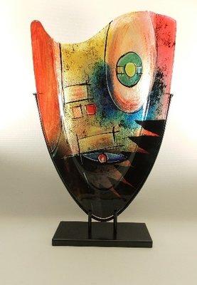 Glazen vaas gekleurd ovaal