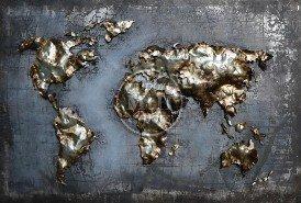 Metalen schilderij 3d landkaart gold