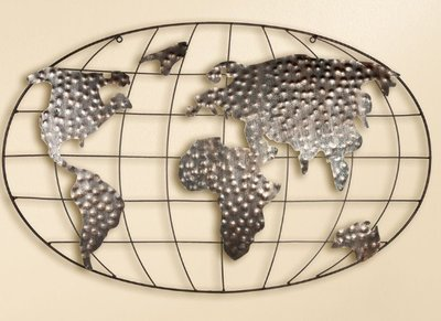 Muurdecoratie metaal de wereld