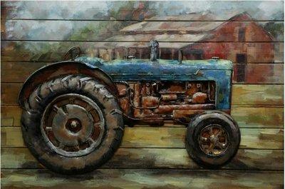 Houten-metaal schilderij Traktor